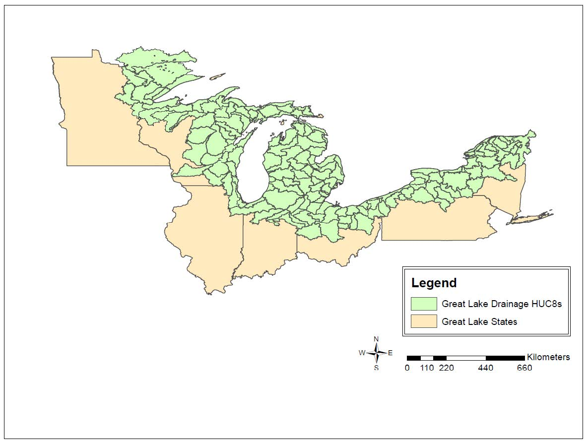 HUC 8 watersheds in the Great Lakes